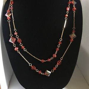 Rope Style Beaded Necklace with Red Glass Beads